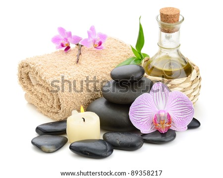 zen basalt stones and orchid on the white - stock photo