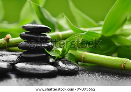zen basalt stones and orchid with dew - stock photo