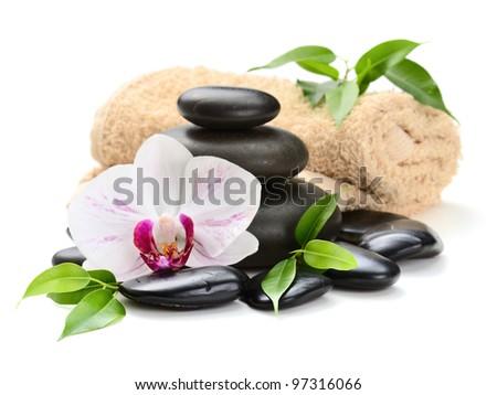 zen basalt stones and sea salt on the white - stock photo