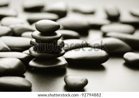 zen basalt stones on the black - stock photo