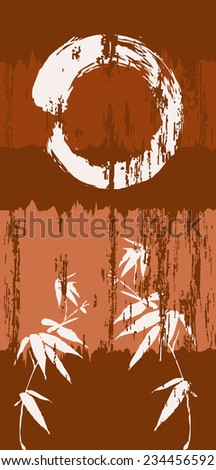 Zen circle and bamboo silhouette over grunge wood texture poster background. - stock photo