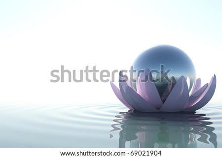 Zen flower loto with sphere in water on white background - stock photo