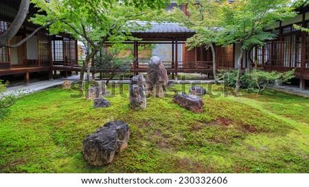 Zen Garden at Kennin-ji Temple in Kyoto, Japan  - stock photo