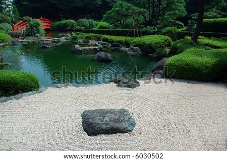 Zen Garden in Japan - stock photo