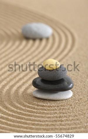 zen garden in sand - stock photo