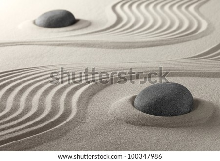 zen garden japanese culture symbol for purity relaxation and concentration spiritual symbol now also used in spa treatment - stock photo