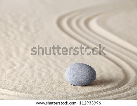 zen garden meditation stone as concept for relaxation harmony simplicity and meditation Asian Japanese culture - stock photo