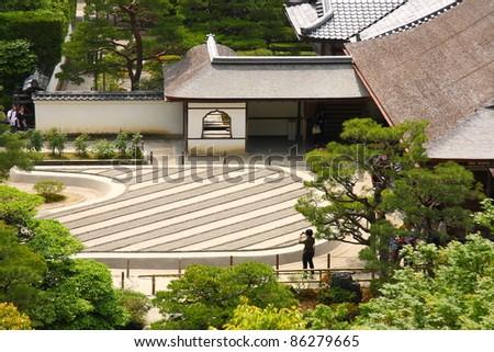 Zen garden of the Silver pavilion (Ginkaku-ji, Kyoto) - stock photo