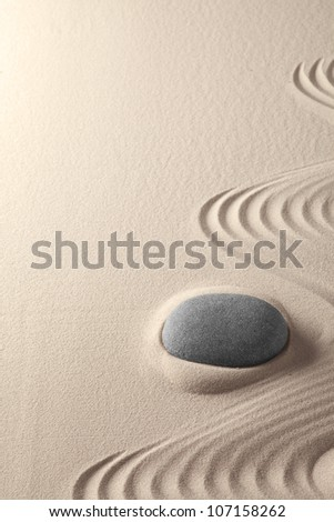 zen garden tao buddhism, sand and stone pattern form tranquility for relaxation harmony concentration and spirituality meditation rock, copy space spiritual