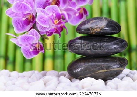 Zen garden with stacked stones and orchid flower
