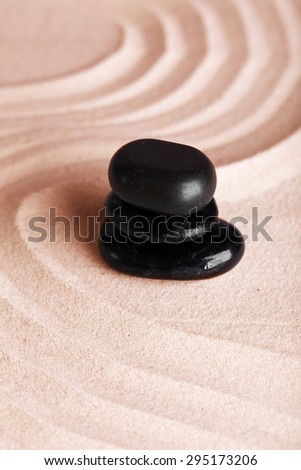 Zen garden with stones for relaxation - stock photo