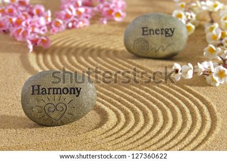 zen garden with stones of harmony and energy - stock photo