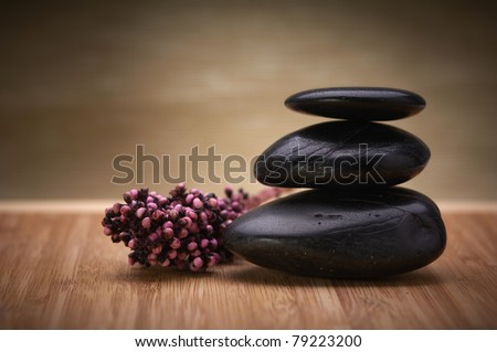 zen, hot massage stone - stock photo