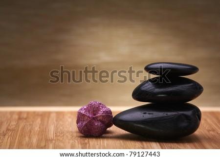 zen hot massage stones - stock photo