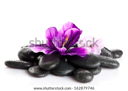 Zen pebbles.  background of a spa with stones - stock photo