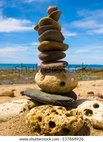 Zen Pebbles Building Concept - stock photo