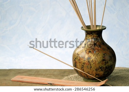 Zen spa background, incense sticks - stock photo