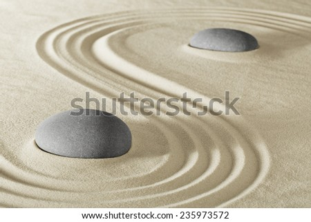 zen stone garden - stock photo