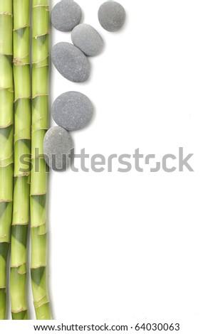 Zen stones and bamboo grove-spa frame - stock photo