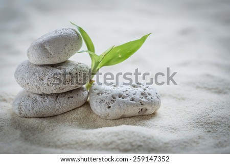 zen  stones and bamboo on the sand - stock photo