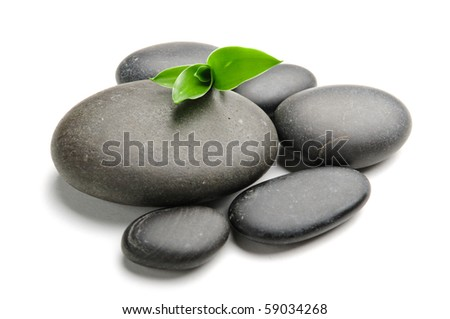 Zen stones and bamboo on the white background