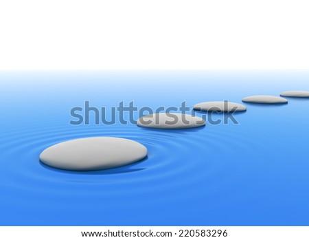 Zen stones in water  - stock photo