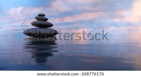zen stones,sea and sky in 3d - stock photo