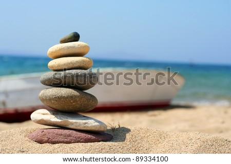 zen style stones - stock photo