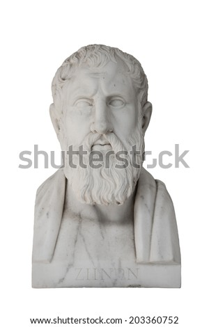 Zenon of Elea - Zeno died about 430 before Christ. Isolated marble sculpture in the Achilleion of Corfu in Greece. - stock photo