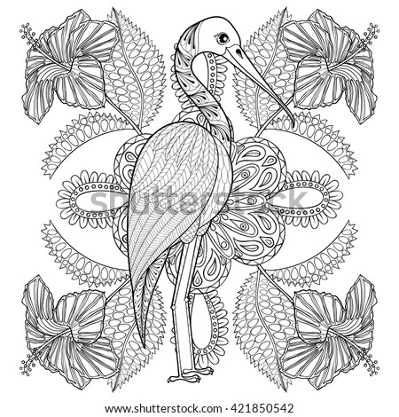 Zentangle Hand Drawn Stork In Hibiskus For Adult Antistress Coloring Pages Post Card T