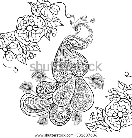Zentangle Peacock totem in flowersfor adult anti stress Coloring Page for art therapy, illustration in doodle style. Monochrome sketch with high details isolated on white background. - stock photo