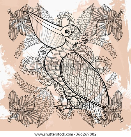 Zentangle Pelican in hibiskus flowers, tattoo design. Ornamental tribal patterned illustration for adult anti stress coloring pages. Hand drawn black sketch isolated on grunge background. - stock photo