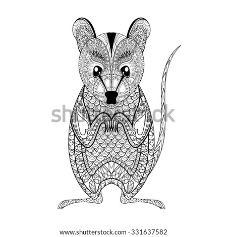 Zentangle Possum totem for adult anti stress Coloring Page for art therapy, illustration in doodle style. Monochrome sketch with high details isolated on white background - stock photo