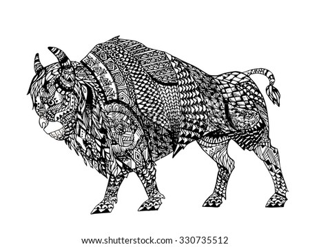 zentangle stylized black bison hand drawn doodle illustration sketch for tattoo or makhenda - Lamborghini Bull Tattoo