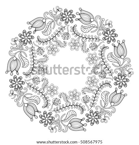Zentangle Stylized Floral Wreath Freehand Boho Sketch For Adult Anti Stress Coloring Page With Doodle