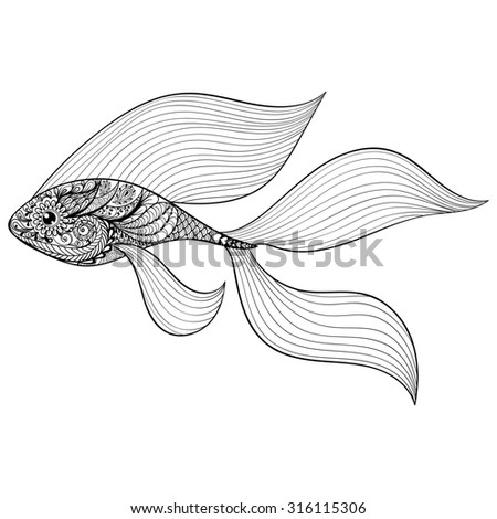Zentangle stylized Gold Fish. Hand Drawn patterned illustration isolated on white background. Vintage sketch for tattoo design or makhenda. Sea art collection. - stock photo