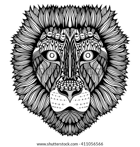 Zentangle stylized Tiger face. Hand Drawn doodle art illustration isolated on white background. Sketch for tattoo or indian makhenda design. - stock photo