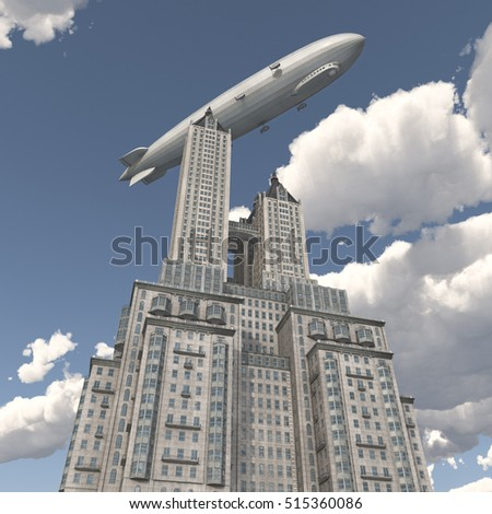 Zeppelin over a skyscraper Computer generated 3D illustration