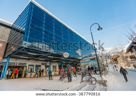 ZERMATT, SWITZERLAND - FEBRUARY 05, 2016: Matterhorn Express lift station in Zermatt. - stock photo