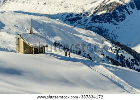 ZERMATT, SWITZERLAND - FEBRUARY 05, 2016: The Matterhorn seen from Zermatt in winter season.