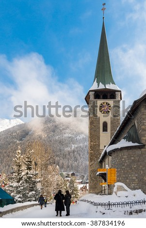 ZERMATT, SWITZERLAND - FEBRUARY 05, 2016: The Matterhorn seen from Zermatt in winter season. - stock photo