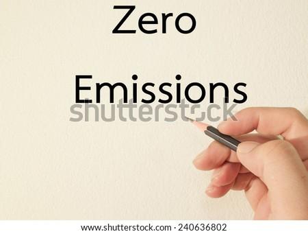 zero emission text write on wall  - stock photo