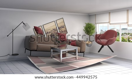 Zero Gravity Sofa Hovering Living Room Stock Illustration ...