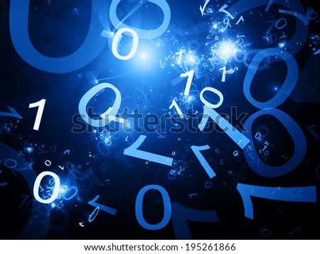 Zero one code blue abstract background - stock photo