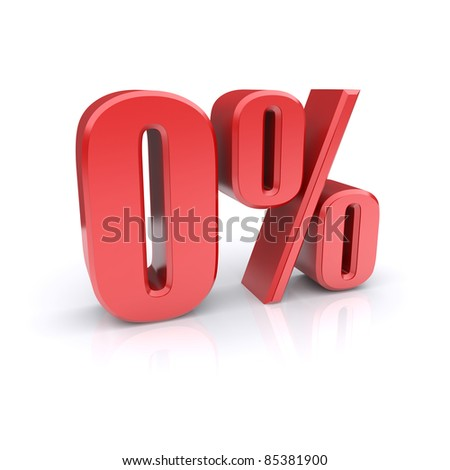Zero percent. 3d image - stock photo