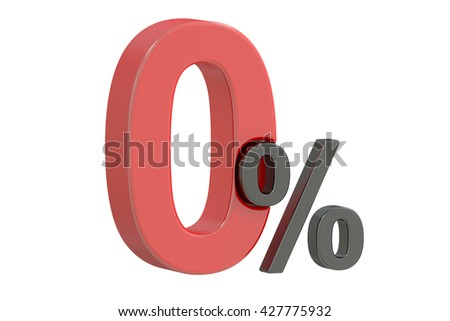 Zero 0 percent discount concept, 3D rendering  isolated on white background
