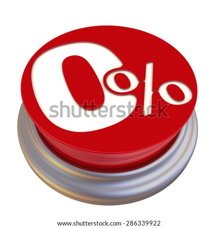 Zero percent Off Button. Red button labeled on white background
