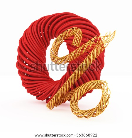 Zero percent stylized wires, isolated on white background.