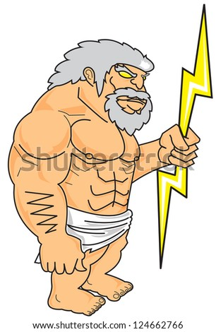 Zeus and lightning in hand. - stock photo