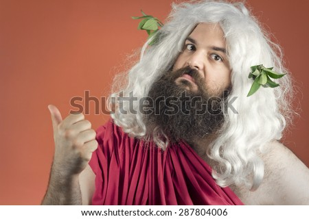 Zeus God or jupiter says to get out of here - stock photo